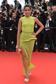 """Freida Pinto - Atelier Versace  Freida Pinto arrives for the screening of """"Rust and Bone""""wearing an Atelier Versace gown at the 65th Cannes film festival on May 17, 2012, in Cannes."""
