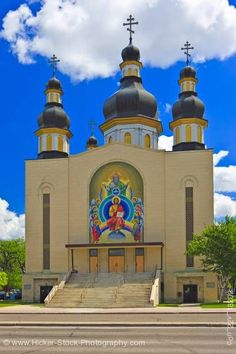 The colourful facade of the Holy Trinity Ukrainian Orthodox Metropolitan Cathedral, in the city of Winnipeg, in Manitoba, Canada. This Cathedral is the Primatial Throne of the Ukrainian Orthodox Church in Canada. Cathedrals, Mosques, Western Canada, Canadian History, Church Architecture, Cathedral Church, Episcopal Church, Chapelle, Place Of Worship