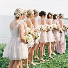 Blush-Tone Bridesmaids Dresses.