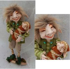 Whittle n' Bit Elf Father & Son OOAK Fairy Fairies Sculpture Art Doll Posable  #handmade