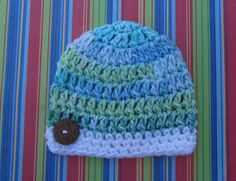 Hand Crocheted Newborn Baby Boy Beanie