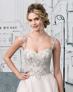 Justin Alexander wedding accessories style 8883DS Add a pop of beading to your wedding gown with these detachable straps. Shown with styles 8883 and 8883A.�