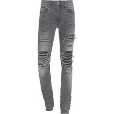 Michael Amiri MX1 Grey // Slim destroyed jeans ($1,260) ❤ liked on Polyvore featuring men's fashion, men's clothing, men's jeans, mens torn jeans, mens slim cut jeans, mens grey jeans, mens gray jeans and mens distressed jeans