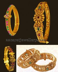Jewellery Designs: Exquisite Gold Bangles in Antique Finish