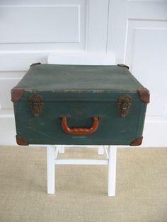 Vintage Suitcase Industrial Primitive Green Case by vintagejane, $49.00