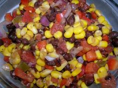 Black bean and corn salsa...this truly is amazing stuff!  Great for grill season!