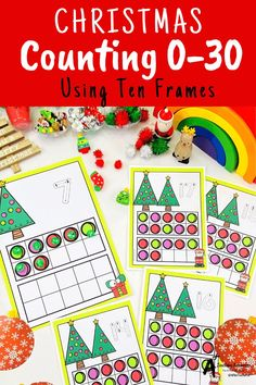 Looking for Christmas math printables for kids? then check these gorgeous math centers for learning to identify numbers and count 0-30. There's so many variations including with and without ten frames, digits and numbers as words. Your kids will love them this holiday season! Christmas Math, Christmas Activities, Christmas Printables, Classroom Activities, Kindergarten Age, Numbers Kindergarten, Number Recognition Activities, Fine Motor Activities For Kids, Teacher Freebies