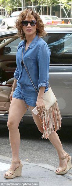 04516bbea4b Jennifer Lopez legs it to lunch in a short romper