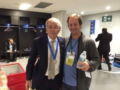Santiago Cuenya with Alejandro Sabella after the World Cup 2014 Final. Silver medal worn with pride.