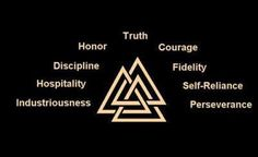Viking symbol and its meaning...technically,this is the Walknot,which is a symbol of a warrior; whereas the words are the nine Noble Truths of Viking culture. Still,as the Walknot has nine points,I like it as a visual representation of those virtues nonetheless.
