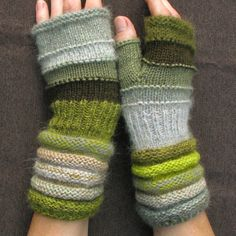 Green fingerless from Christmas tree in the white snow. Unmatched Hand Knit Striped Arm Warmers with upcycled wool and kid mohair 44 usd