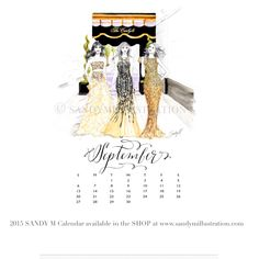 The first SANDY M 2015 Fashion Illustration Calendar is available now! All of the girls in the illustrations are wearing gowns from designer spring summer 2015 collections! September's girls (who have just left a glamorous girl's lunch at the famous #carlylehotelnyc ) are wearing (L to R) #oscardelarenta #lelarose and #aliceandolivia ✨ CALENDAR AVAILABLE AT www.sandymillustration.com #illustration #fashion #calendar #sandym2015calendar