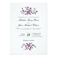 "Pretty Floral Modern Purple Stylish Wedding Invite 5"" X 7"" Invitation Card"