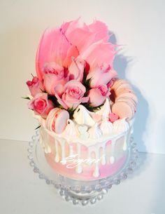 Pink Drip Cake Meringues Macarons Chocolates