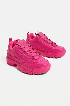 Shop FILA Disruptor Premium Pink Trainers at Urban Outfitters today. Sneakers Mode, Cute Sneakers, Chunky Sneakers, Air Max Sneakers, Sneakers Fashion, Cute Womens Shoes, Basket Style, Louis Vuitton Shoes Sneakers, Fila Disruptors