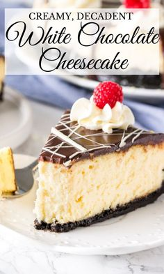 White chocolate cheesecake is ridiculously creamy, super smooth and has a deliciously tangy white chocolate flavor. Top it with chocolate ganache! from Just So Tasty White Chocolate Desserts, Coconut Cheesecake, Chocolate Cheesecake Recipes, Homemade Cheesecake, Chocolate Ganache, Turtle Cheesecake, Cheescake Recipe, Cheesecake Toppings, Cheesecake Desserts