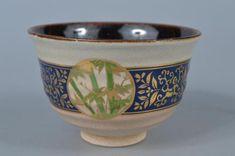 K8376-Japanese-Kiyomizu-ware-Gold-paint-Flower-pattern-TEA-BOWL-Green-tea-tool Tea Bowls, Gold Paint, Flower Patterns, Japanese, Tableware, Flowers, Green, Painting, Doodle Flowers