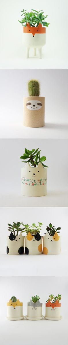 Large Tripod Fox Planter, White and Orange Succulent, Cacti Plant Pot | MinkyMooCeramics