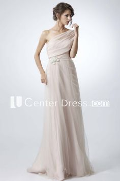 Jeweled One-Shoulder Sleeveless Tulle Prom Dress