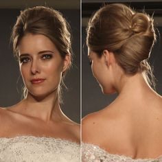 Brides: Runway Hair and Makeup Trends. French twists, which can work with and without bands, were the hairstyle of choice at Maggie Sottero. A few wisps were left around the face to keep the look soft and touchable.