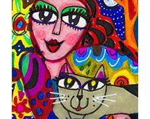 Whimsical Art, Girl And Cat Print, Cat Art, Art For Women, Funny Cat Print, Girls Room Decor, Cozy Cat by Paula DiLeo_1107101