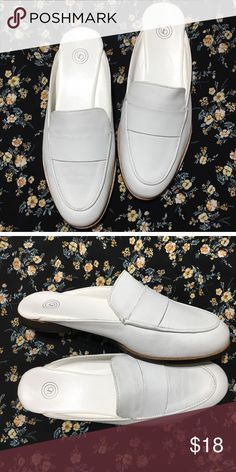 3cbc0afaad4b57 Brand New Urban Outfitters White Leather Loafers Loafer mule style    real  leather
