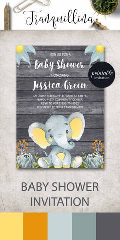 Elephant Baby Shower Invitation Boy Baby Shower Invitation, Jungle Baby Shower Invitation Safari Baby Shower Invitation Printable. Diy Shower Ideas. http://tranquillina.etsy.com