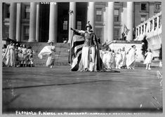 """Florence F. Noyes as """"Liberty"""" in suffrage pageant, Washington D.C., 1913."""