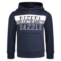 Diesel Boys Blue Hooded Sweatshirt with White Diesel Branded Dazzle Print