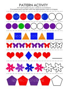 Spot the Pattern 2, kindergarten math worksheet, sequences | Kids ...