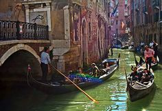 A congested canal in Venice, Italy