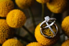 wedding rings with craspedia. Style Me Pretty Gallery || Photo by Caroline + Ben Photography