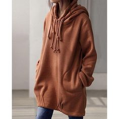 Fashionable Solid Color Various Drawstring Hooded Long Pullover Hoodie For Women (BROWN,L) in Sweatshirts & Hoodies | DressLily.com