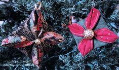 Day Seven: Folded Fabric Christmas Tree Ornament — The Inquiring Quilter Fabric Christmas Trees, Christmas Quilt Patterns, Christmas Tree Ornaments, Christmas Gifts, Christmas Ideas, Fabric Tree, Fabric Gifts, Fabric Flowers, Flower Ornaments