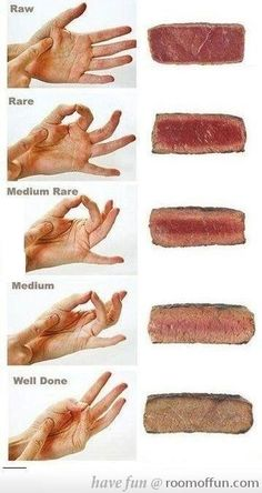 I always knew the hand trick but like seeing the color of the meat next to it. I like mine medium rare-rare