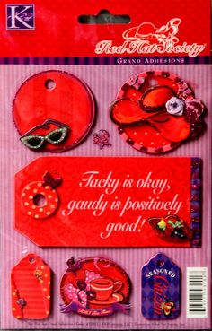K & Company Official Licensed Red Hat Society Red Hat Tags Grand Adhesions Dimensional Stickers