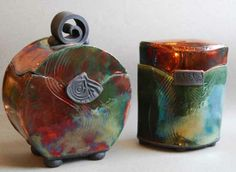 """Charlotte Munning • Round Carved Lidded Urn 8"""" • Eliptical Lided Urn 6.5"""". Nicole's Studio and Art Gallery"""