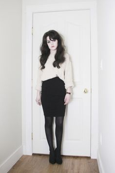 Life In Red Lipstick, hairstyle, dark curles, blouse, pencil skirt, retro, simple, style, outfit