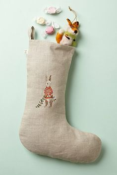 Embroidered Animal Stocking
