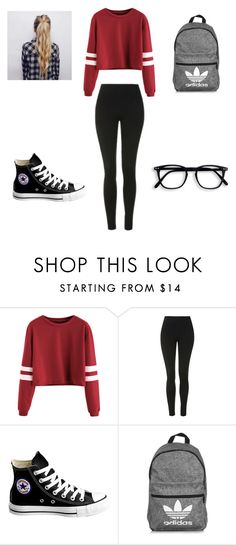 """Jayme's Outfit Chapter 2"" by hunnybun15-1 ❤ liked on Polyvore featuring Topshop, Converse and adidas"