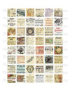 Vintage French Ephemera 1 inch Squares Printable Digital Collage Sheet