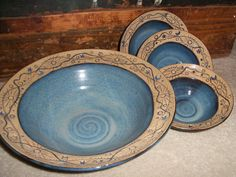 Beautiful Handmade Ceramic Pottery Bowl Set Large by WinterFinds click the image or link for more info. Pottery Plates, Ceramic Pottery, Pottery Art, Slab Pottery, Pottery Studio, Ceramic Pots, Ceramic Clay, Handmade Pottery, Handmade Ceramic