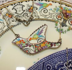 Staffordshire Renaissance Mosaic Bird II Broken China Jewelry Pendant Necklace by robinsrelics