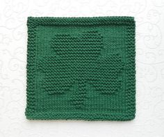 Green SHAMROCK Hand Knitted Dishcloth or Wash by AuntSusansCloset, $6.50