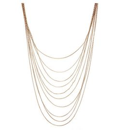 Long Layered Thin Chain Necklace