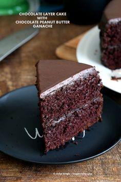 Vegan Chocolate Cake with Chocolate Peanut Butter Ganache. Simple Chocolate Layer Cake. Add raspberry or apricot preserves. Soy-free Palm Oil-free Recipe | VeganRicha.com