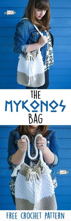 Make the Mykonos crochet boho bucket bag easily and simply with this easy to fol… Crochet Purse Patterns, Crochet Tote, Crochet Handbags, Crochet Purses, Crochet Crafts, Crochet Projects, Free Crochet, Knit Crochet, Crochet Baskets