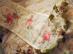 Watered silk roses tablerunner