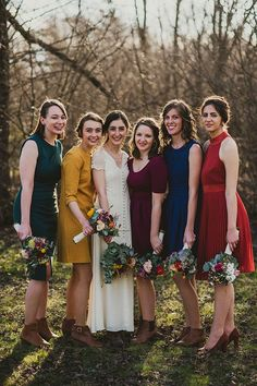 Fall Wedding Color Schemes Top 9 Fall Wedding Color Schemes for bridesmaid dresses of emerald green, navy, orange and burgundy, woodland weddings for September and October and November<br> Mustard Bridesmaid Dresses, Jewel Tone Bridesmaid, Mismatched Bridesmaid Dresses, Bridesmaid Dress Colors, Wedding Bridesmaids, Wedding Dresses, Autumn Bridesmaid Dresses, Autumn Bridesmaids, Bridesmaid Gowns