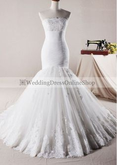 Tulle Strapless Mermaid Style with Lace Hemline Skirt Wedding Dress WD-3503